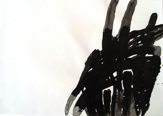Ohne Titel, 70 x 100 cm, Tusche auf Papier, Susanne Renner-Schulz, 2014