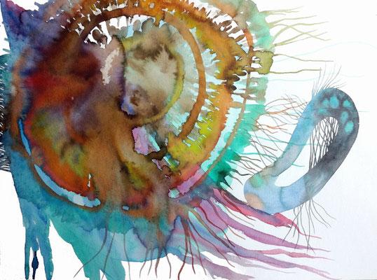 Invasion, 56 x 42 cm, Aquarellfarbe auf Papier, Susanne Renner, 2019