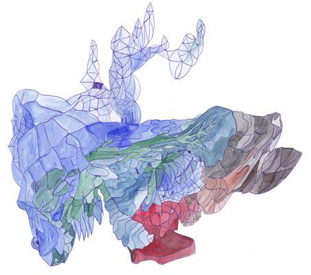 Ohne Titel, 30 x 40 cm, Kugelschreiber und Aquarellfarbe auf Papier, Susanne Renner