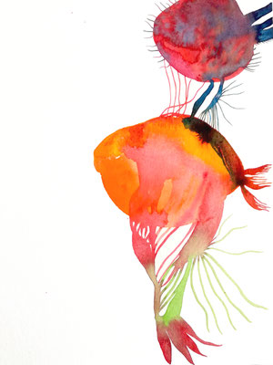 Touched, 24 x 32 cm, Aquarellfarbe auf Papier, Susanne Renner, 2019