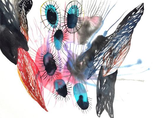 Transmute, 56 x 42 cm, Aquarellfarbe auf Papier, Susanne Renner, 2019