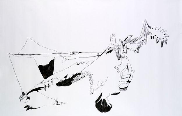 Gründer VIII, 190 x 150 cm, Tusche auf Papier, Susanne Renner