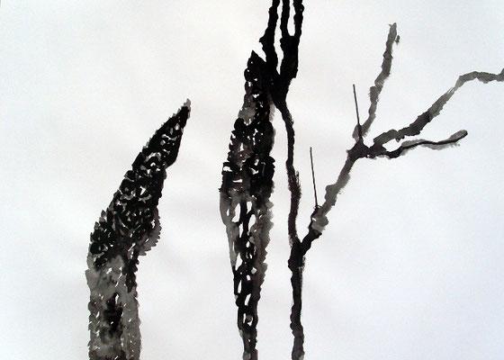 Black Matter, 70 x 100 cm, Tusche auf Papier, Susanne Renner-Schulz, 2014
