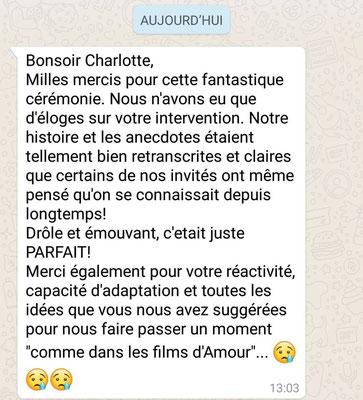Recommandation de Votre Cérémonie laïque by Charlotte Vilain officiante
