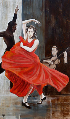 Flamenco 2 - oil and sand on canvas - 100 x 60 cm