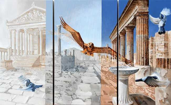 Hawk alight on Pompeii - triptico - oil with sand on canvas - 163 x 100 cm