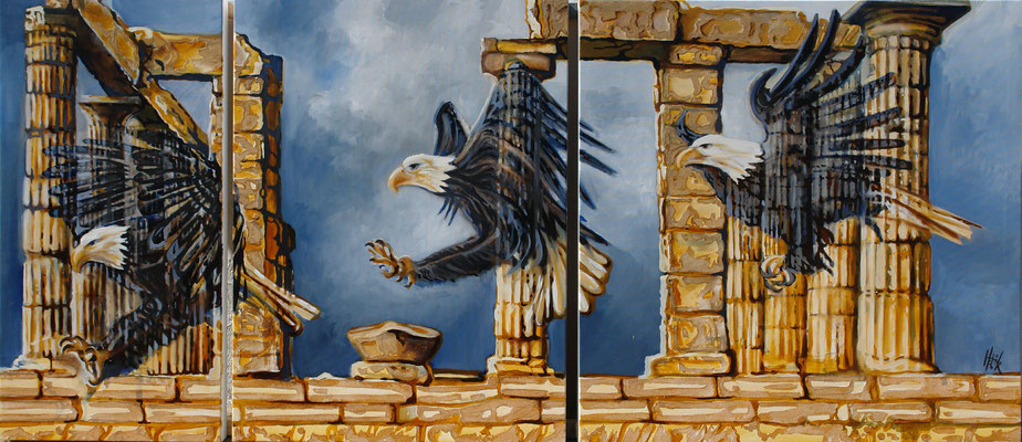 Eagle lands at Poseidon- triptych -oil with sand on canvas - 184cm x 80cm