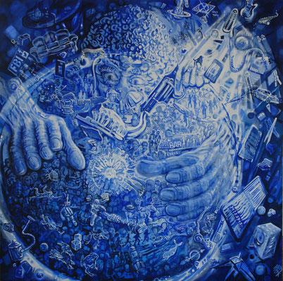 Cosmic Debris - oil on canvas - 120 x 120 cm