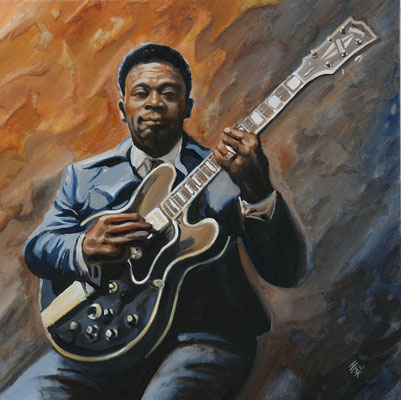 BB King with his Lucille- 60 x 60 cm - oil with sand on canvas