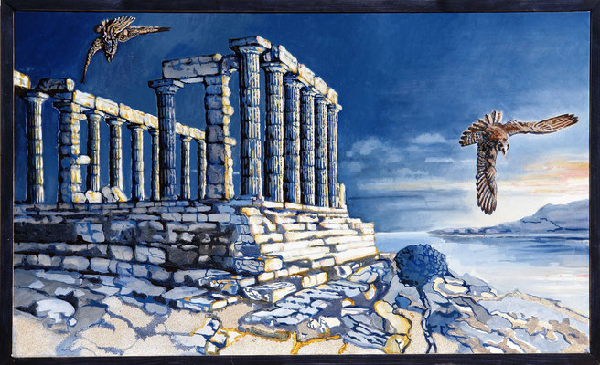 Daybreak at Poseidon - oil with sandstructure on canvas - 60 x 100 cm
