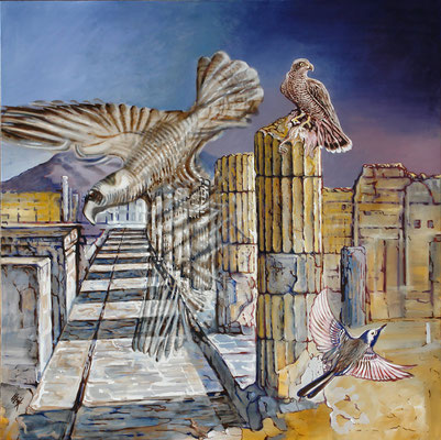 Daybreak in Pompeii- oil on canvas- 140cmx140cm