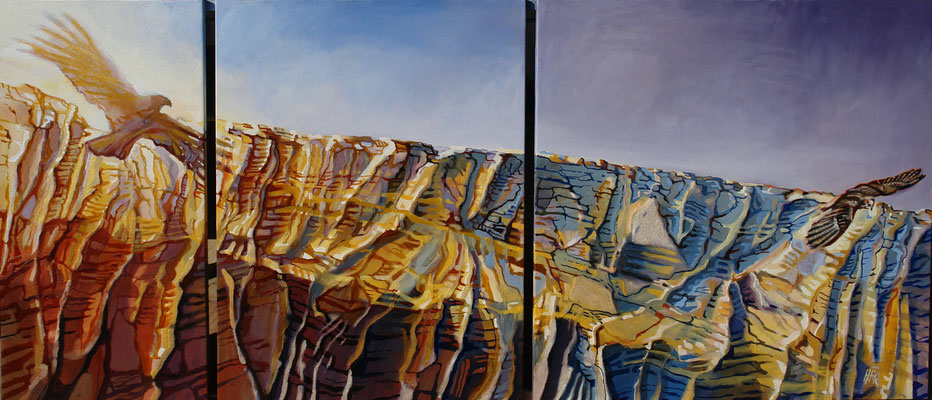 Canyon Flight 2- triptych-oil with sand on canvas-184cmx80cm