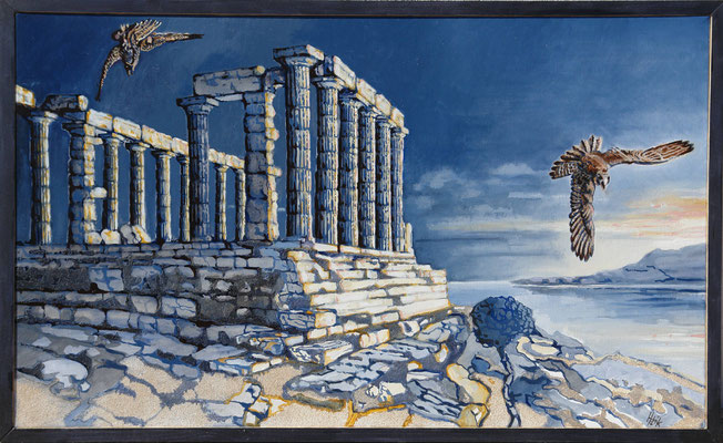 Daybreak at Poseidon- oil with sand on canvas-100cmx60cm