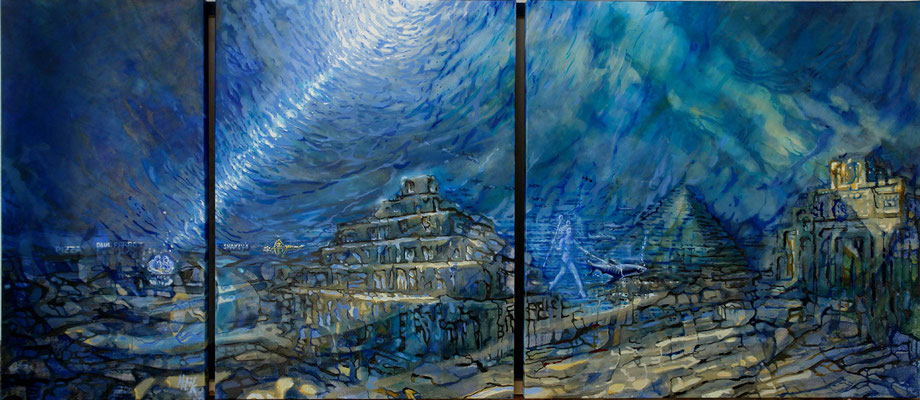 The Blue Light - tryptich - oil with sandstructure on canvas - 80 x 184 cm