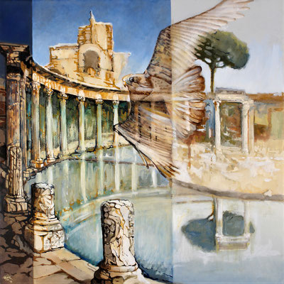 Falcon sweeps through Tivoli - oil with sandstructure on canvas - 81 x 81 cm