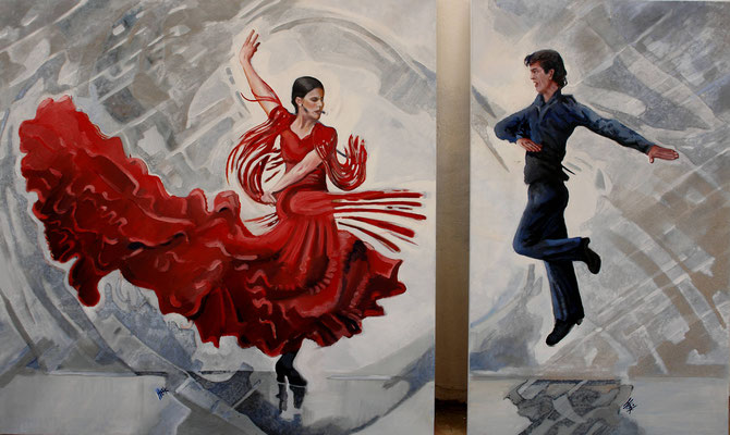 Flamenco 1 - diptych - oil and sand on canvas - 164 x 100 cm