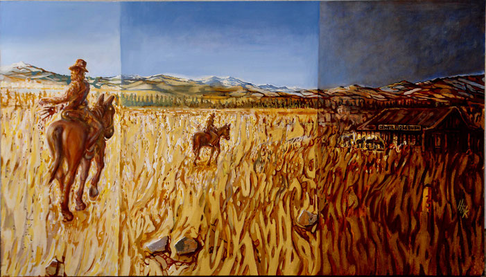 Montana - oil with sand on canvas - 80 x 140 cm