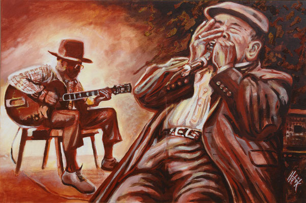 James Cotton on Bluesharp- 60 x 90 cm - acryl with swand on canvas