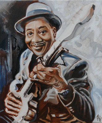 M.Morganfield -alias-Muddy Waters - 50 x 60 cm - oil with sand on canvas