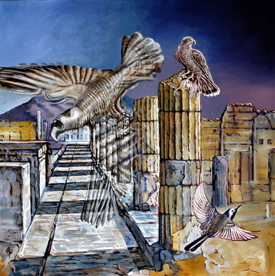 Daybreak at Pompeii - oil with sandstructure on canvas - 140 x 140 cm