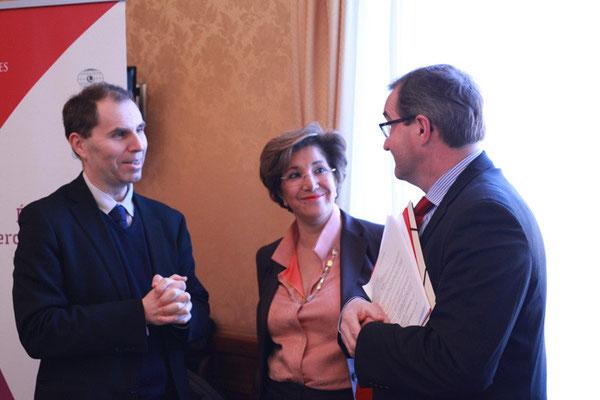 Bruno Abd al-Haqq Ismaïl, Directeur de l'IHEI, Madame Bariza Khiari, vice-présidente du Sénat et Germinal Peiro, député de Dordogne