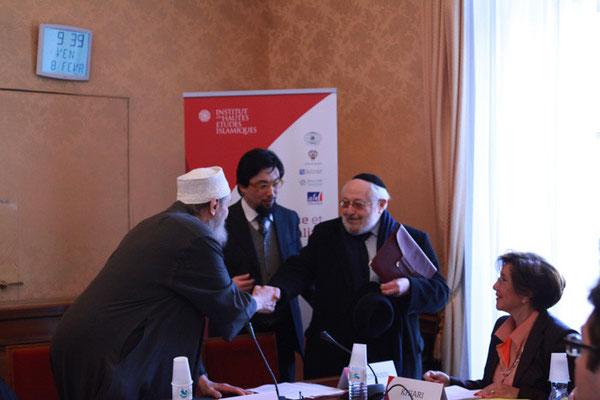Le Shaykh Abd al-Wahid Pallavicini, Président d'honneur de l'IHEI et Le Rabbin Alain Goldmann, ancien Grand Rabbin de Paris