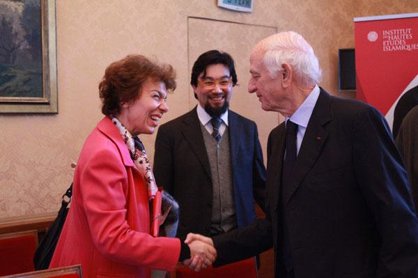 Madame Katérina Sténou, Directrice de la Plate-forme intersectorielle pour une culture de la paix et de la non-violence, UNESCO et S E André Azoulay, Conseiller du Roi du Maroc, Président de Anna Lindh