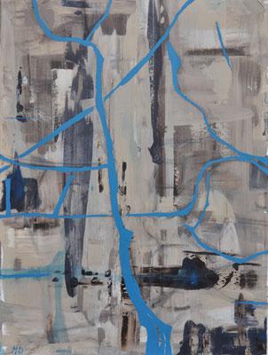 """""""Schwarzachklamm"""". Abstrahiert, Acryl, gerakelt und gemalt auf Leinwand."""
