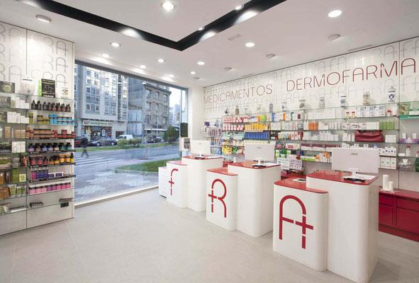 Diseño, proyecto y reforma farmacia Fra - A Coruña Galicia