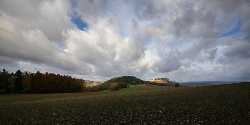 Quirl und Festung Königstein unterm Wolkenloch