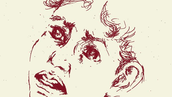 Isaak auf Scheiterhaufen, Zeichnung Yv Mär