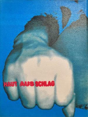 """""""Hautausschalg"""" - Digital Print auf Leinwand 18x24cm  2003"""