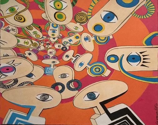"""""""Der innere Kreis / orange"""" - Copic auf Holzkörper 25x20x4,5 cm  2007"""