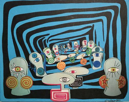 """""""Come on itˋs such a joy / blue"""" - Copic auf Holzkörper 25x20x4,5 cm  2007"""