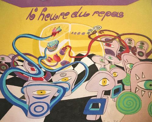 """""""L´heure du repas  / jaune"""" - Copic auf Holzkörper 25x20x4,5 cm  2007"""