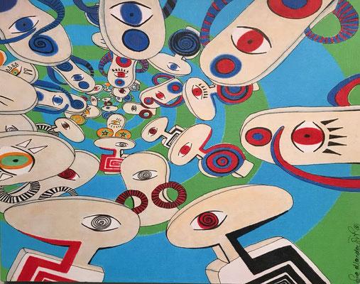 """""""Der innere Kreis / blau"""" - Copic auf Holzkörper 25x20x4,5 cm  2007"""