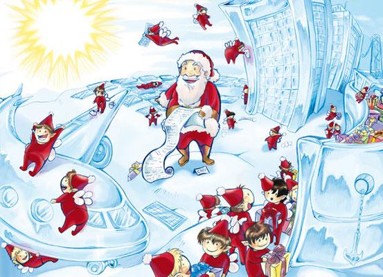 Eine Illustration für einen Adventskalender für die Firma KGAL.