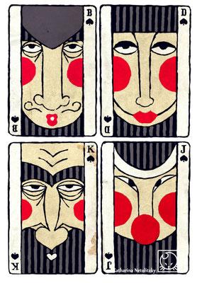 "Bube, Dame, König, Ass" - Freie Illustration
