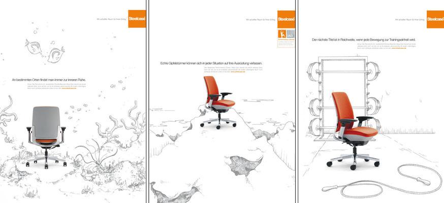 Diese Grafiken enststanden für einen Pitch für die Firma Steelcase. Die schwarz/weißen Hintergrundillustrationen stammen von mir (nicht realisiert, aber den Pitch haben wir damit gewonnen)
