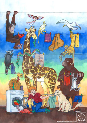 """Laundry"" - This illustrations explains in a style suitable for children how to save energy by not using the laundry dryer but to hang up your laundry. I painted this picture with gouache and it is for sale."