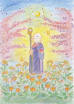 美由紀さんのぬり絵「慶桜(じょうじゅ)地蔵」チャクラのぬり絵で描かれました。