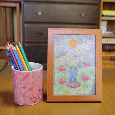 美奈さんの使用した色鉛筆と選ばれた額(ナチュラル)