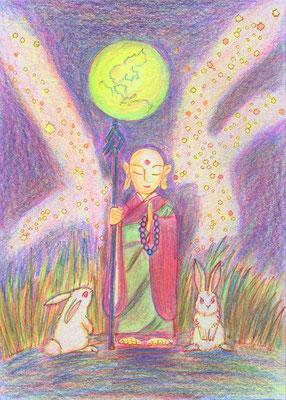 松下智子さんの作品。月慧地蔵を7本の色鉛筆で。