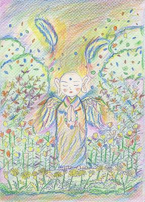尚美さんのぬり絵「澄心(ピュア)地蔵」チャクラのぬり絵で描かれました。