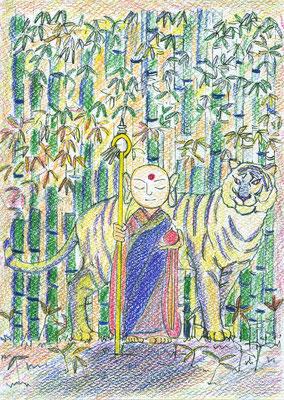 お母さんの明美さんの作品「白虎地蔵」