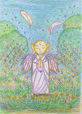 松下智子さんの作品。澄心地蔵を7本の色鉛筆で。