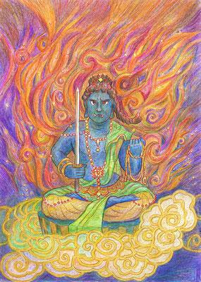 私・川口悟の「火生不動」ぬり絵作品です。