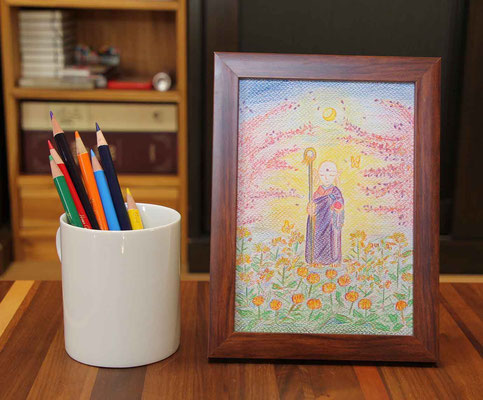 この7本の色鉛筆で描きました。