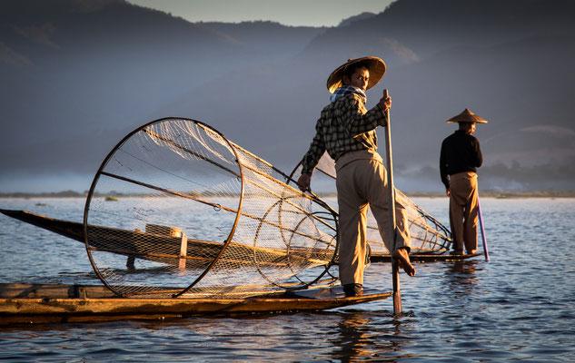 Einbeinfischer am Inle See