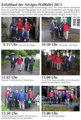 Dataillierter Zeitablauf von St. Josef bis zum Marienberg (2013)